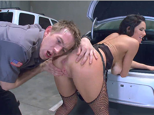 Agent of Police with a huge cock, frisked in depth, the asshole of a mature busty exhibitionist with big ass