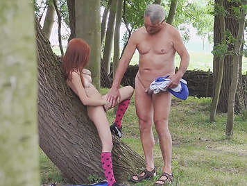 Voyeur spying on an old man fucking a redhead bitch in a nudist camping