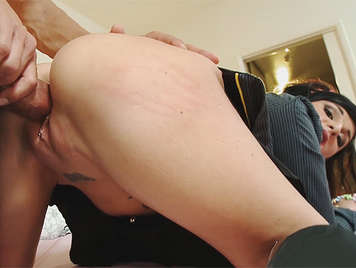 Fucks a little hooker schoolgirl on all fours like a bitch, and fill her mouth and her tits with a good cumshot