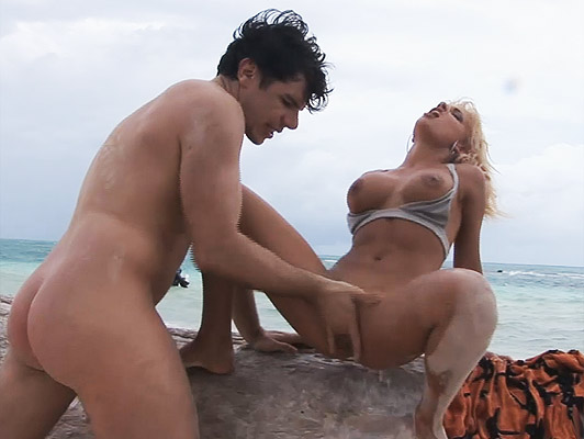 anal sex on the beach with a beautiful busty blonde who wants his fist in pussy and cum in her mouth