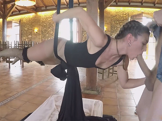 Julia Roca Hanging by an XL Cock