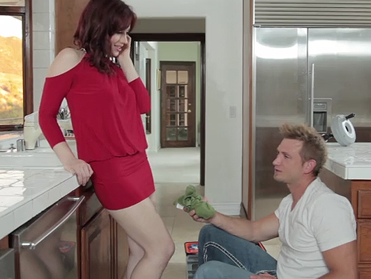 horny housewife having sex with the plumber
