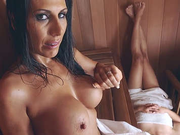 Fucking in the sauna with a busty milf