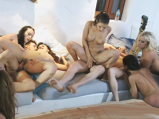 Fucking assholes in a European orgy the girls receive sperm splash