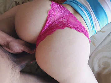 fucking his girlfriend in thong on all fours like a bitch