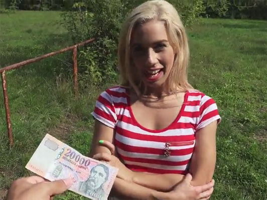 Offering money in exchange for sex with an unknown blonde in the street