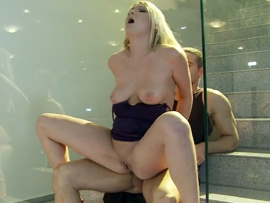 anal sex on the stairs with a nasty blonde