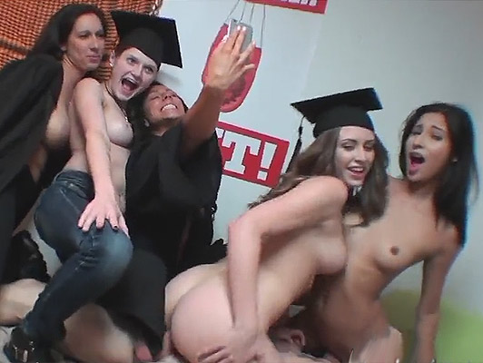 University hot babes, fucking hard with their janitor in the bedroom
