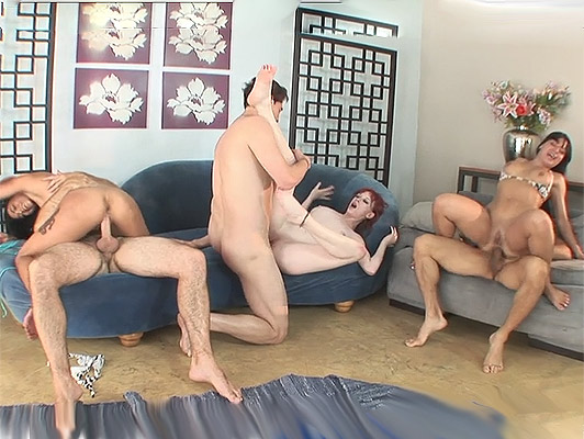 Double penetration in a swingers orgy