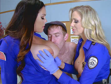 Two policewomen, with big tits interrogating a guy with a huge cock