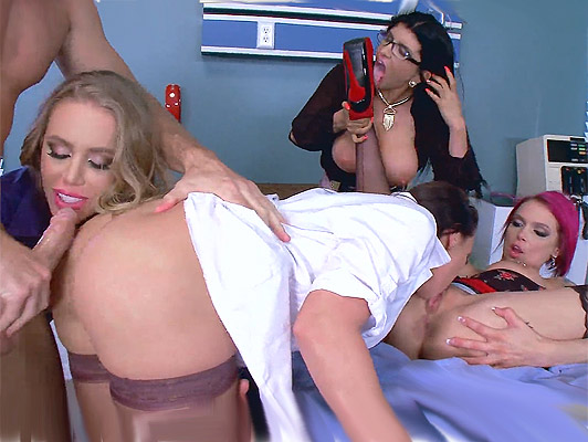 4 mature and busty female doctors fucking hard in a group, in the hospital