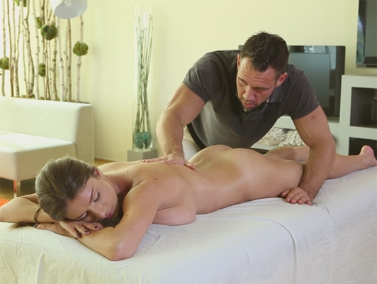 erotic and therapeutic massage that becomes into sex on the massage table