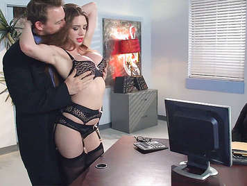 Busty sexy secretary in lingerie seducing and sucking the cock to his boss