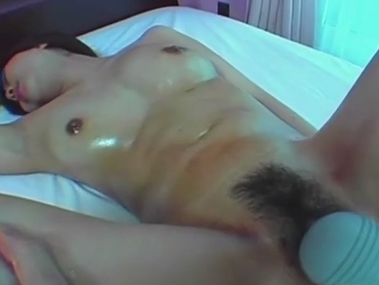 Japanese hairy pussy fucked with sex toys.