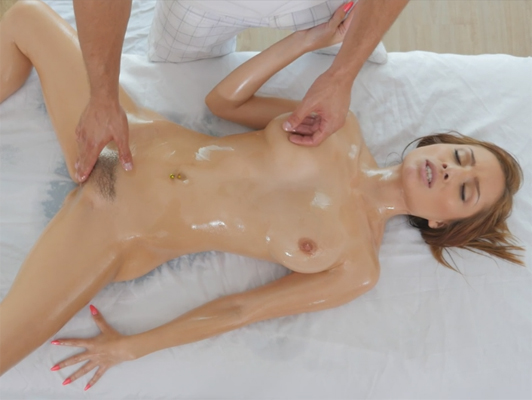 Sex on the massage table with a young girl with hairy pussy