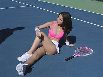 Fucking a horny young tennis player on the tennis court