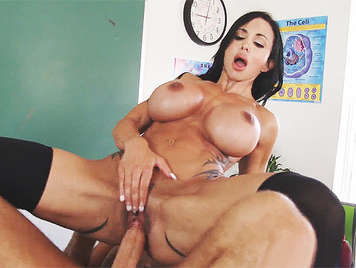 brunette teacher with big juicy tits, riding a huge cock