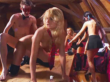 Private anal party with three horny schoolgirls