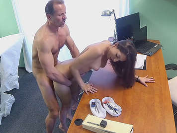 Hidden camera in the doctor's office, fucking a little girl with natural tits