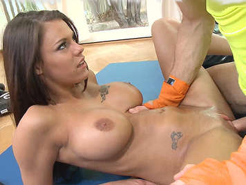 The horny and busty Peta Jensen fucking in the gym