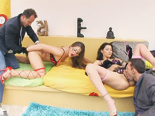 Hard foursome sex with two busty mature sluts with glasses