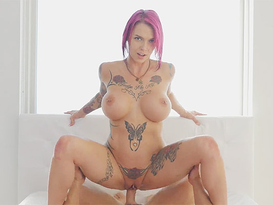 Milf busty and tattooed riding a cock full of cum