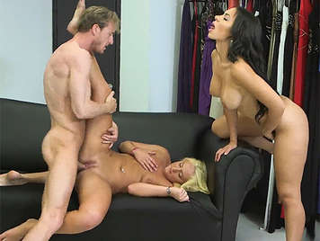 fucking with a assed blonde, and a busty brunette in a sex threesome