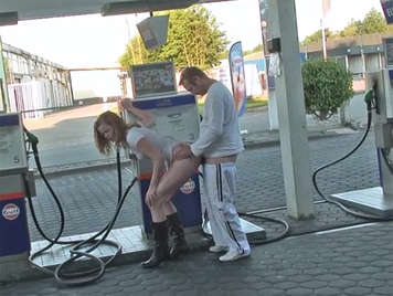 Sex in public, couple fucking at the gas station