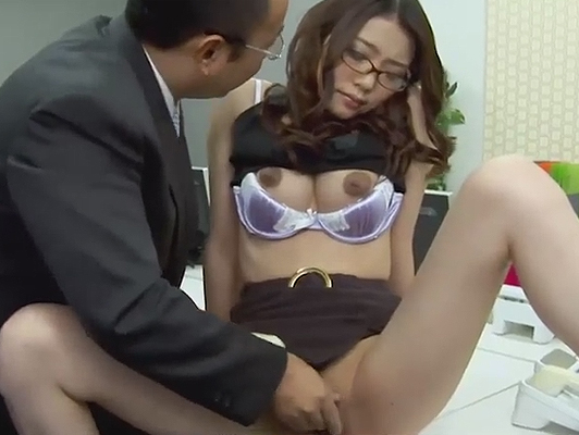 Submissive young Japanese secretary fucks her boss.