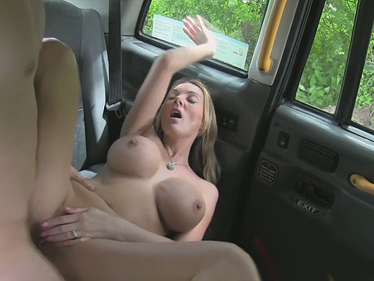 British blonde milf with big tits fucking hard in a taxi