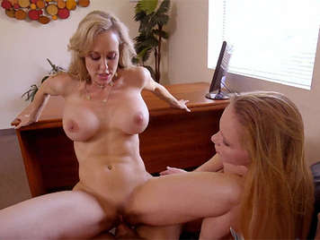 Threesome with busty milf teacher and a horny, assed schoolgirl too sexy