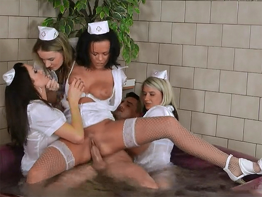 4 horny nurses fucking in the jacuzzi