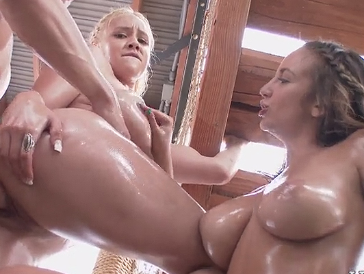 Threesome with busty blonde and a brunette full oil