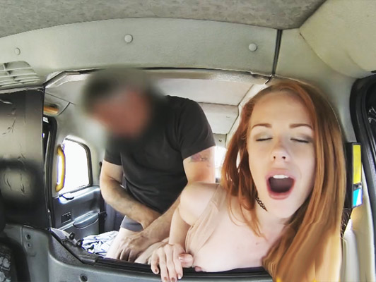 Taxi driver fucking hard a redhead girl with a big ass