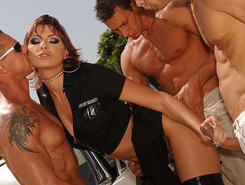 Police busty woman fucked by three cocks stuffed in her ass
