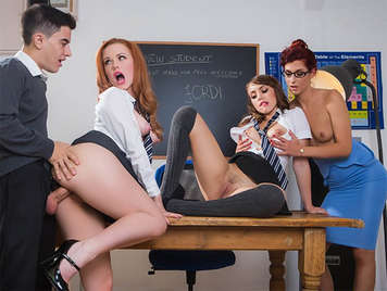 Foursome in the classroom with Jordi el Niño Polla, the teacher and two schoolgirls