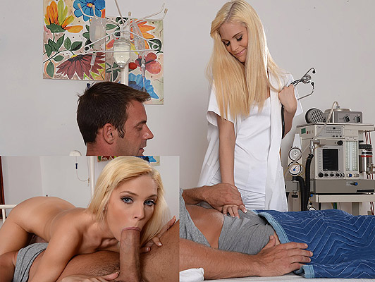 Young, blonde nurse with small tits sucking the cock of a patient