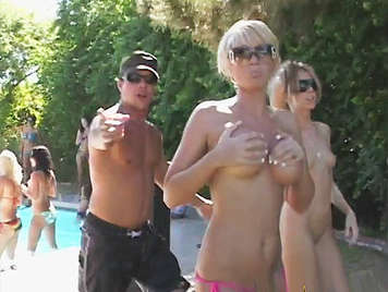Pool party and fucking with two horny blondes