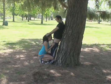 Voyeur catch a one young couple, fucking under a tree