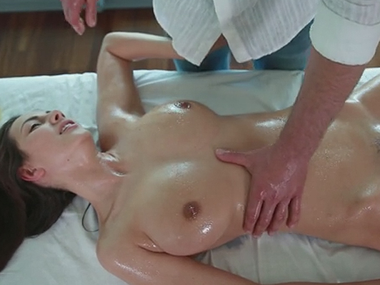 Erotic massage with a brunette with big tits fucking just oil