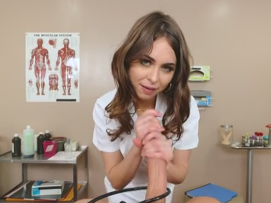 Young slutty nurse sucks patient cock
