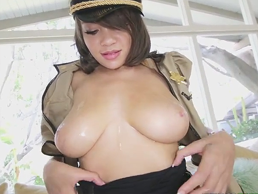 Fucking a mulatto and busty policewoman