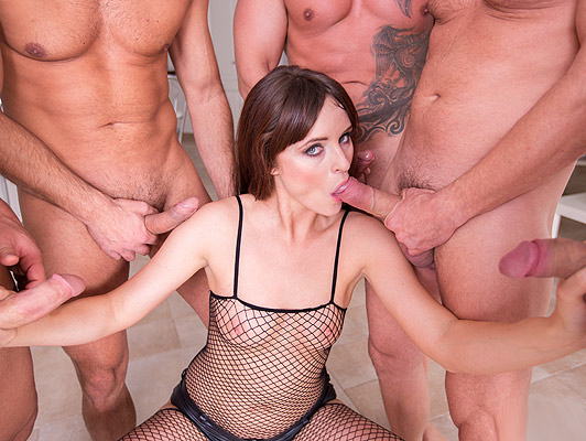 Canadian girl in a Bukkake scene, sucking five fat cocks
