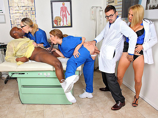 Orgy with two horny nurses fucking in the hospital with Dr.