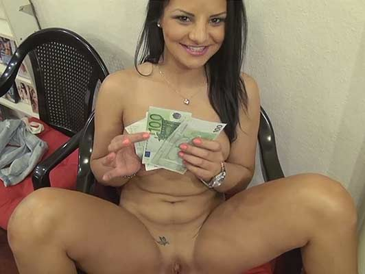 Czech brunette sells shaved pussy for money