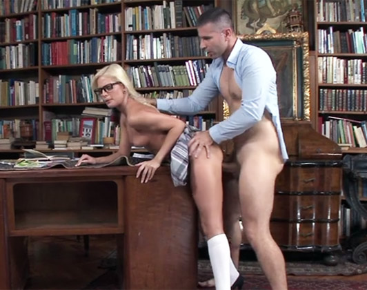 Boarding school teacher fucking a female student blonde with small tits with glasses