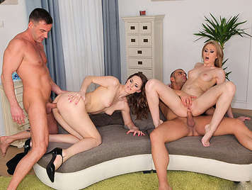 A quartet of anal sex with two horny sluts