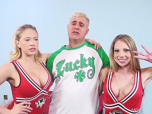 Two very horny cheerleaders with good tits in a threesome of very hot sex