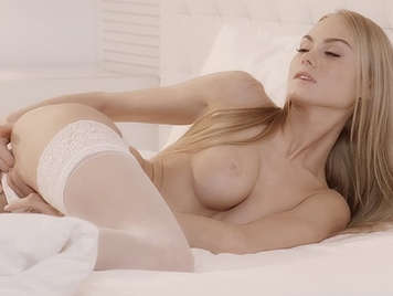 Seductive Ukrainian blonde masturbates sensually while boyfriend watches