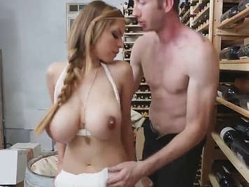 Fucking in the wine cellar with a busty
